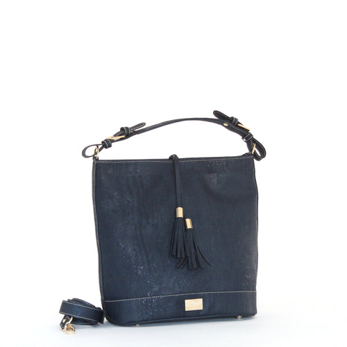 cork shoulder purse in navy cork leather made in portugal