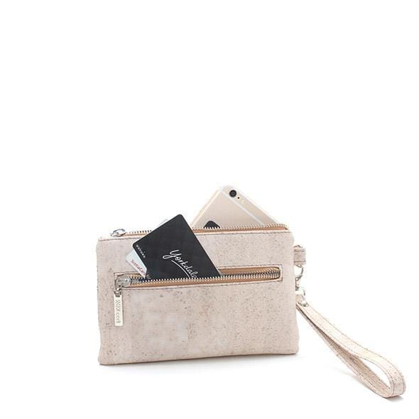 smartphone wristlet in white cork vegan iphone accessories