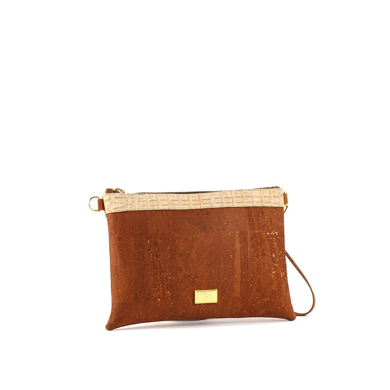 cork purses made in portugal vegan crossbody clutch in camel color
