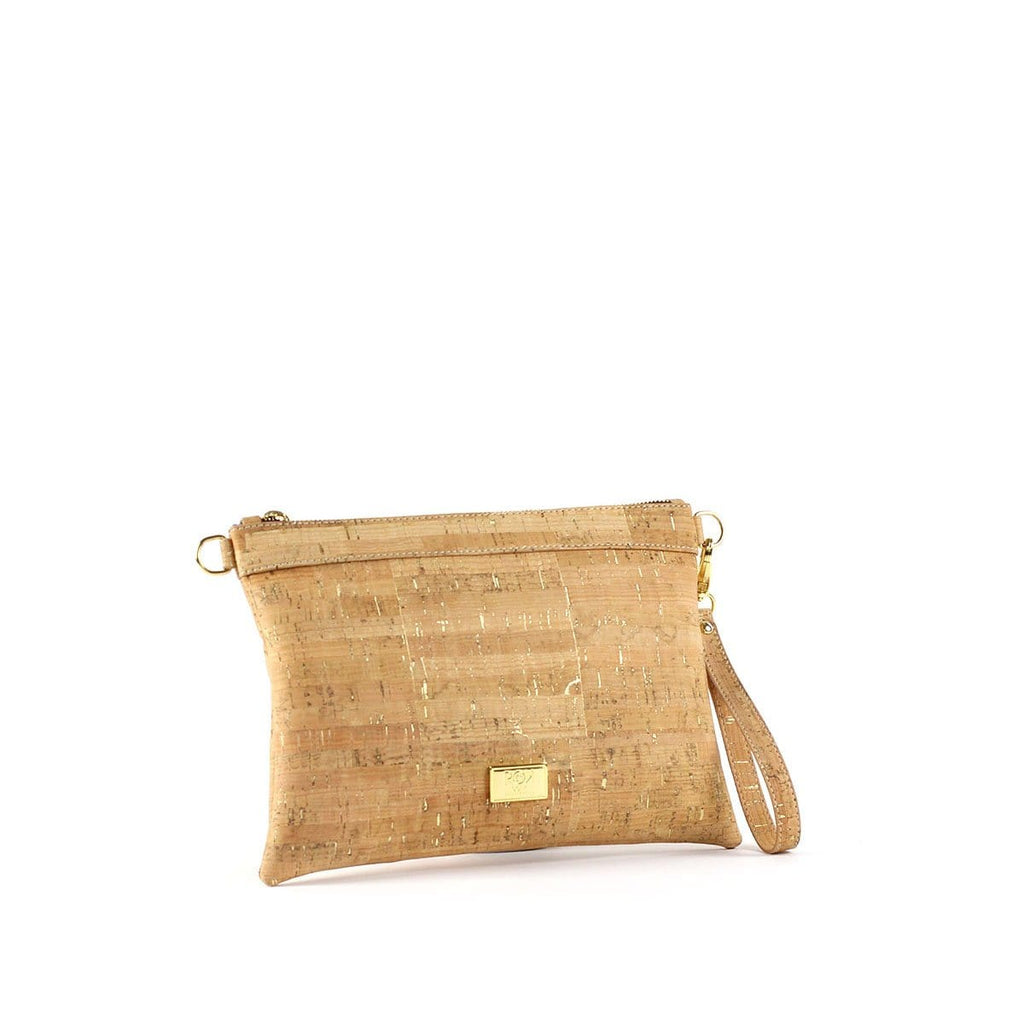 stunning cork crossbody in natural gold cork with adjustable strap