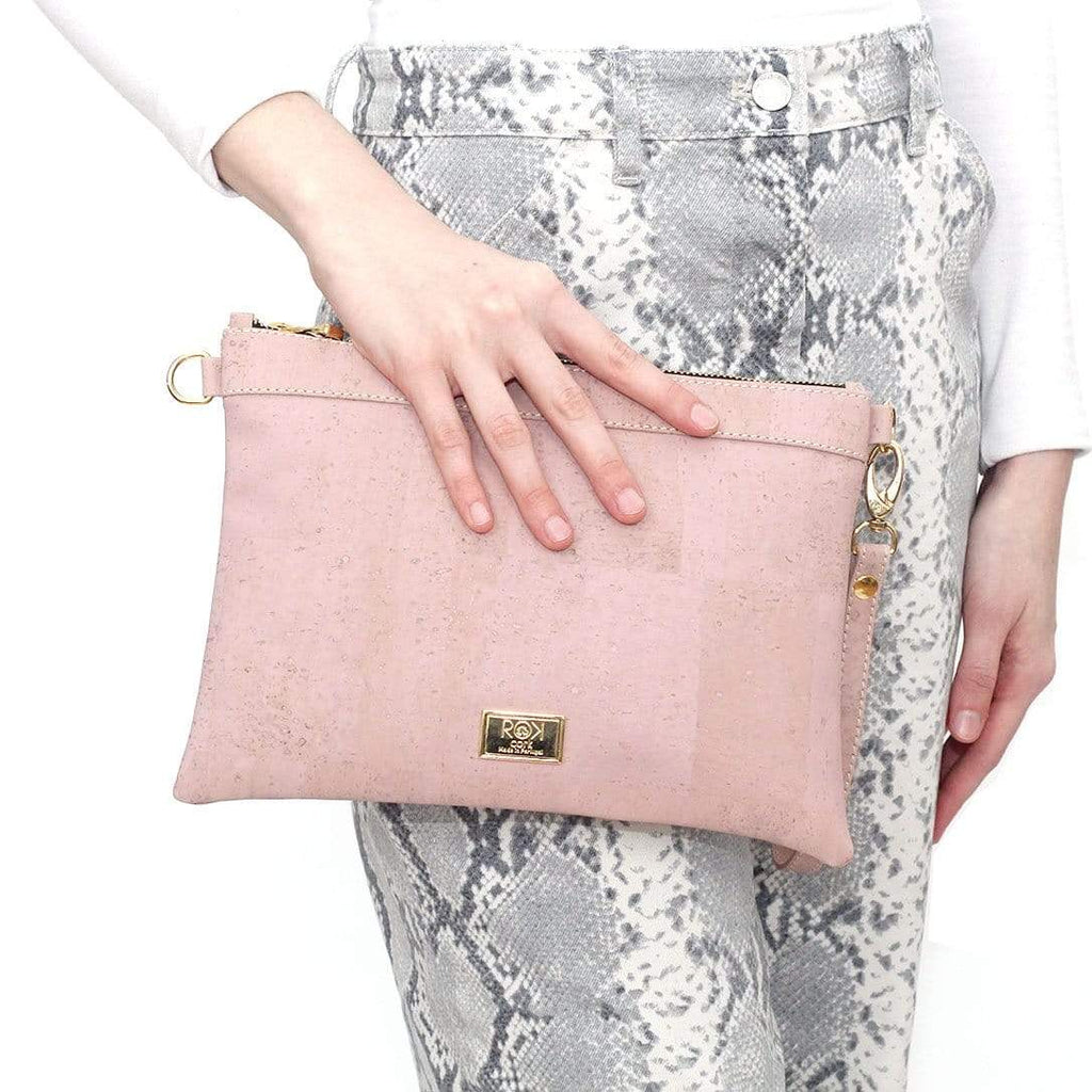 stunning cork clutch in bubblegum pink made in portugal