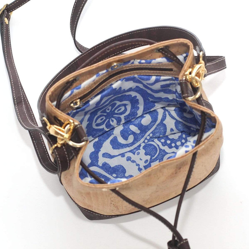 interior of cork bucket bag made in portugal purses