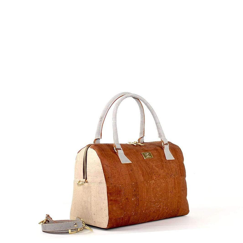cork duffle handbag in black cork made in portugal