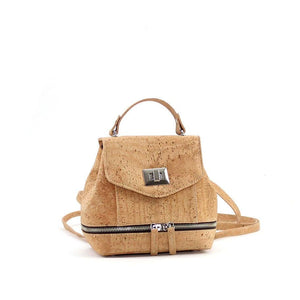 cute vegan mini cork backpack with adjustable straps