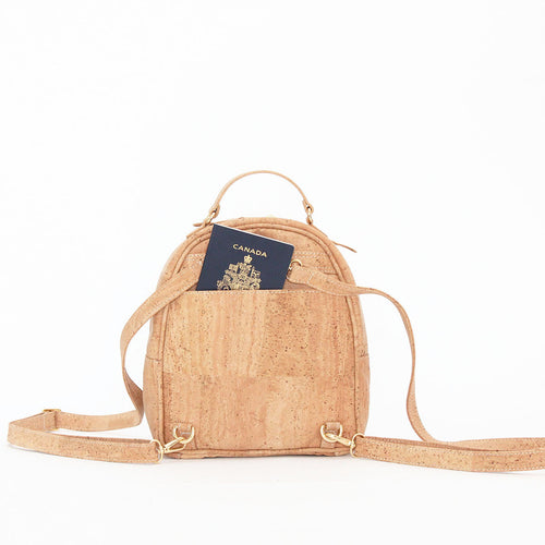 natural cork backpack in natural cork from portugal