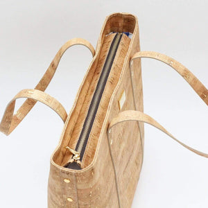 cork tote handbag spacious interior view natural cork