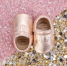 Load image into Gallery viewer, Rose Gold Baby Moccasins