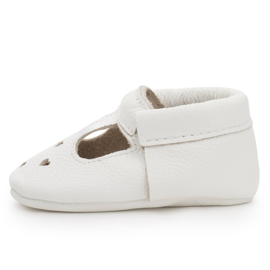 Pearl White Mary Jane Moccasins