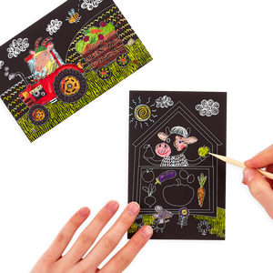 Farm Animals Scratch and Scribble Mini Scratch Art Kit