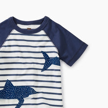 Load image into Gallery viewer, Shark Raglan Baby Graphic Tee-Crown Blue