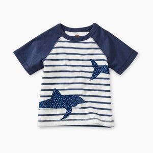 Shark Raglan Baby Graphic Tee-Crown Blue