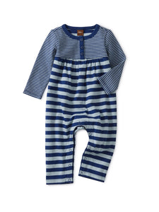 Striped Double Knit Romper-Nightfall