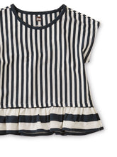 Load image into Gallery viewer, Striped Ruffle Hem Top-Indigo