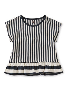Striped Ruffle Hem Top-Indigo