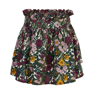 Floral Tiered Skirt - Purple Fog