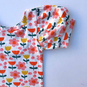 Puff Sleeve Leotard-Bright Blossoms