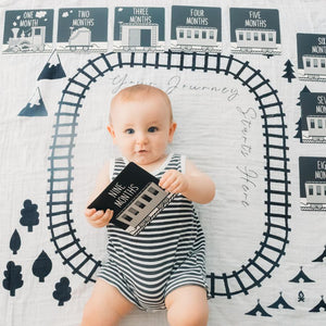 Milestone Blanket and Card Set - Train