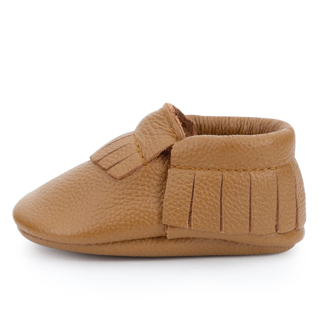 Classic Brown Genuine Leather Baby Moccasins