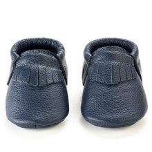 Load image into Gallery viewer, Navy Genuine Leather Baby Moccasins