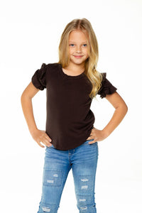 Girls Recycled Vintage Jersey Ruffle Short Sleeve Shirt