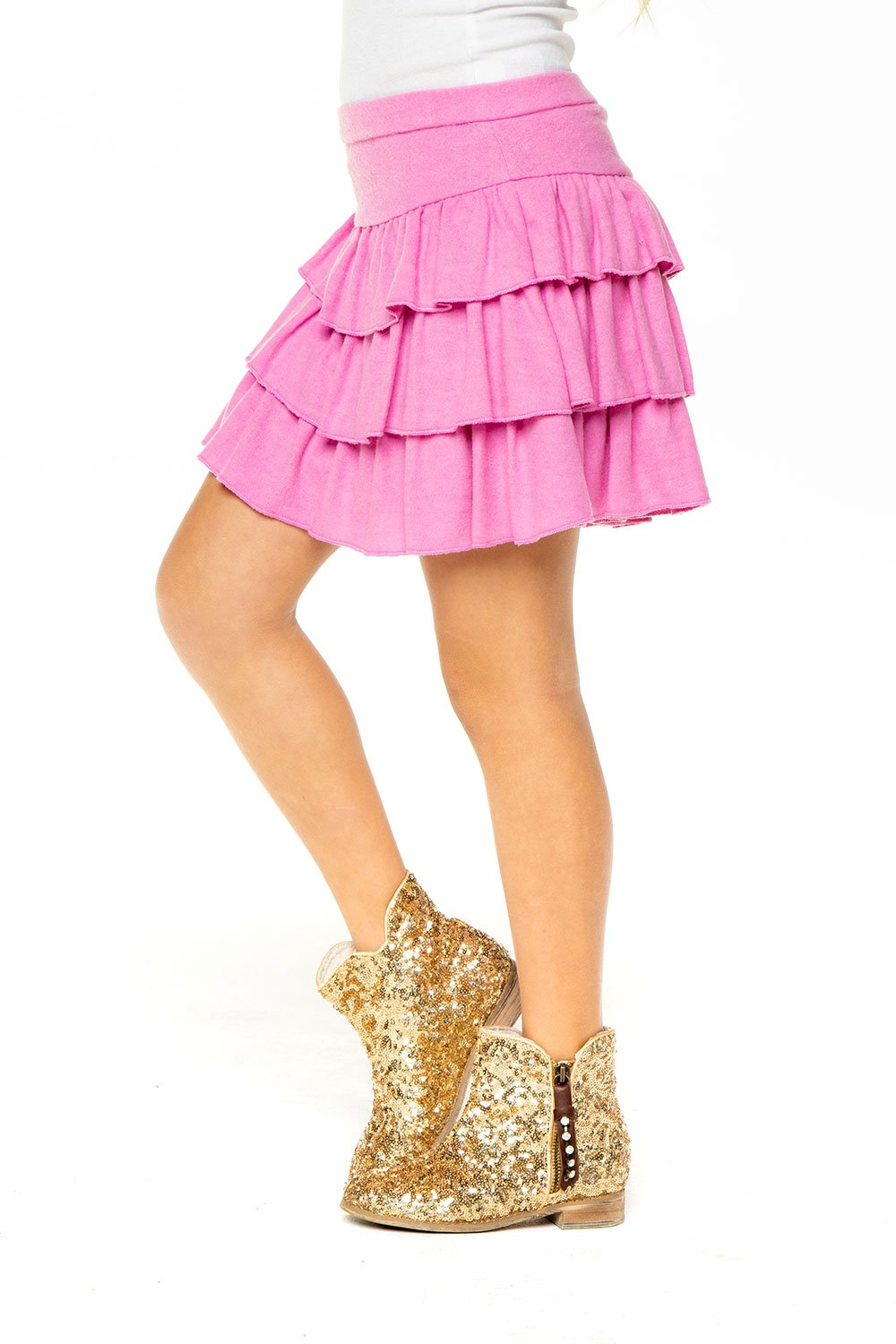 Girls Love Knit Tiered Ruffle Skort - Pink Lady