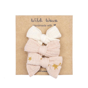 Bow Clip 3 Piece Set - Soft Pink