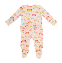 Load image into Gallery viewer, Zipper Ruffle Footie - Pink Rainbow
