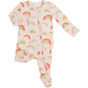 Zipper Ruffle Footie - Pink Rainbow