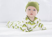 Load image into Gallery viewer, Print Gown & Single Knot Hat Set-Natural Caterpillars