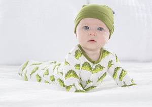 Print Gown & Single Knot Hat Set-Natural Caterpillars
