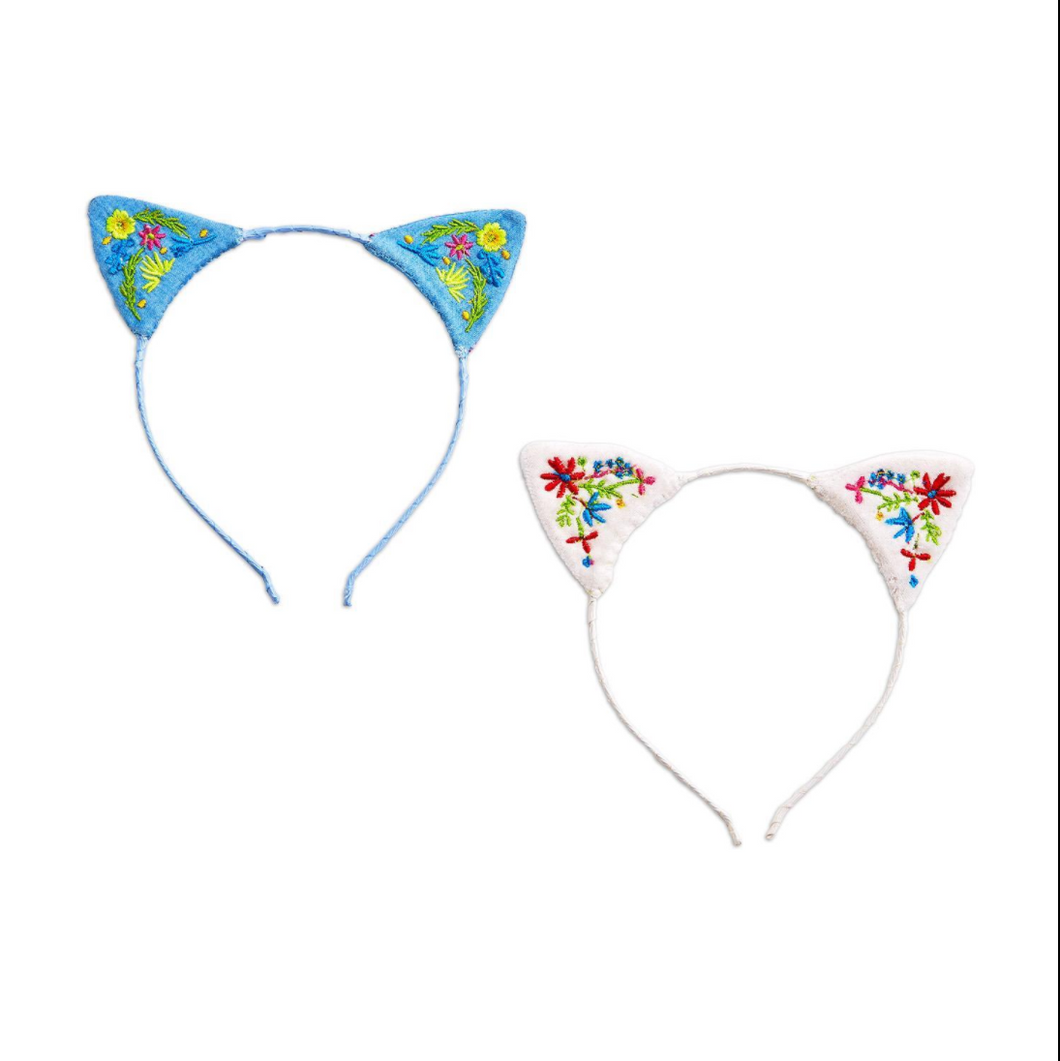 Cat Ears Embroidered Headband