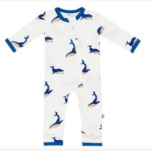 Printed Zippered Romper - Whale