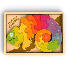 Load image into Gallery viewer, Counting Chameleon Bilingual Puzzle
