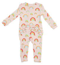 Load image into Gallery viewer, Zipper Ruffle Romper - Pink Rainbow