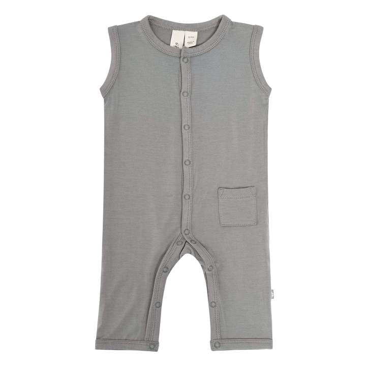 Solid Sleeveless Romper-Chrome