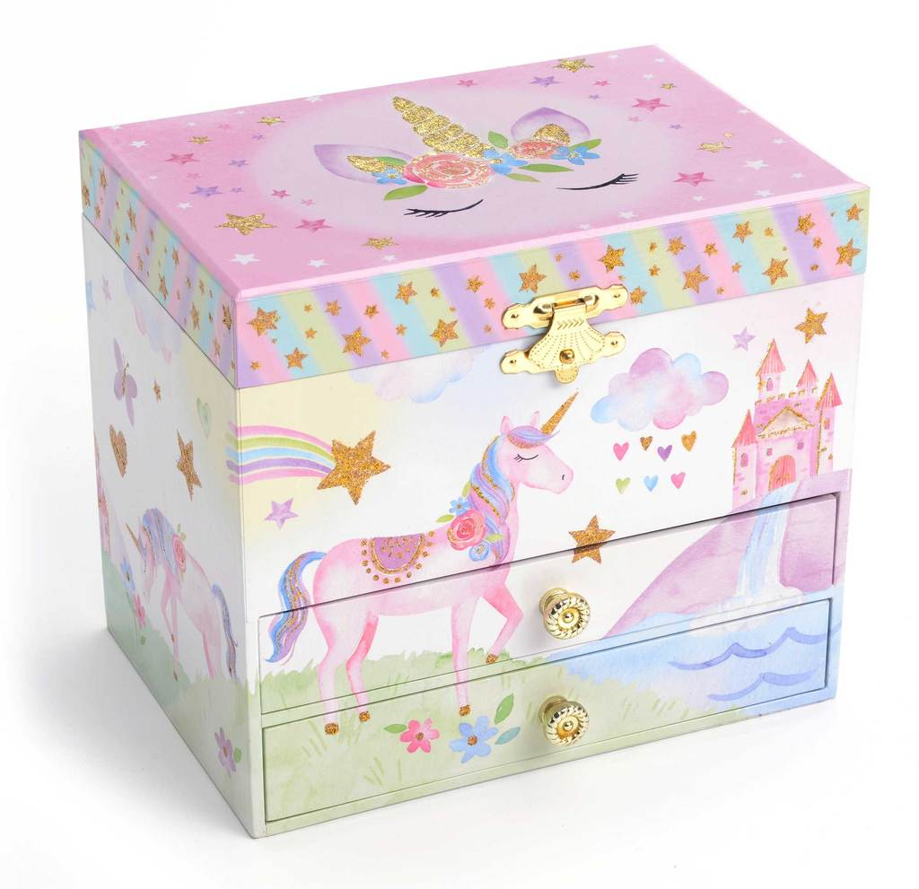Rainbow Glitter Unicorn Musical Jewelry Box with Drawers