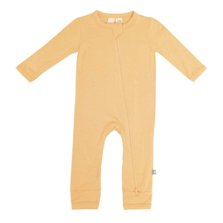 Solid Zippered Romper - Honey