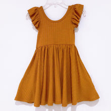 Load image into Gallery viewer, Ribbed Twirl Dress-Mustard