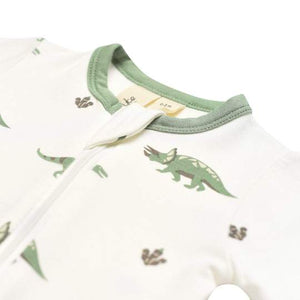 Printed Zippered Footie-Dino