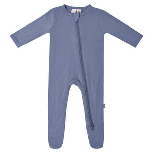 Solid Zippered Footie - Slate
