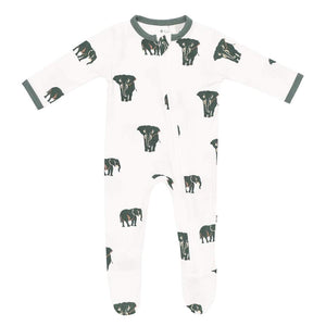 Printed Zippered Footie - Elephant