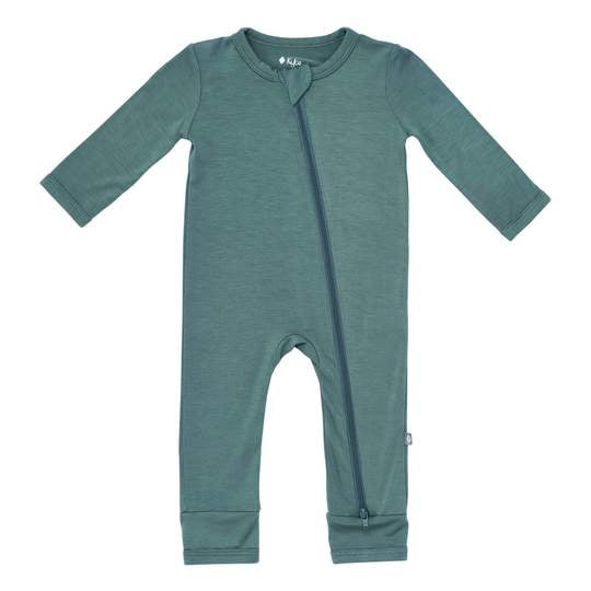 Solid Zippered Romper - Pine