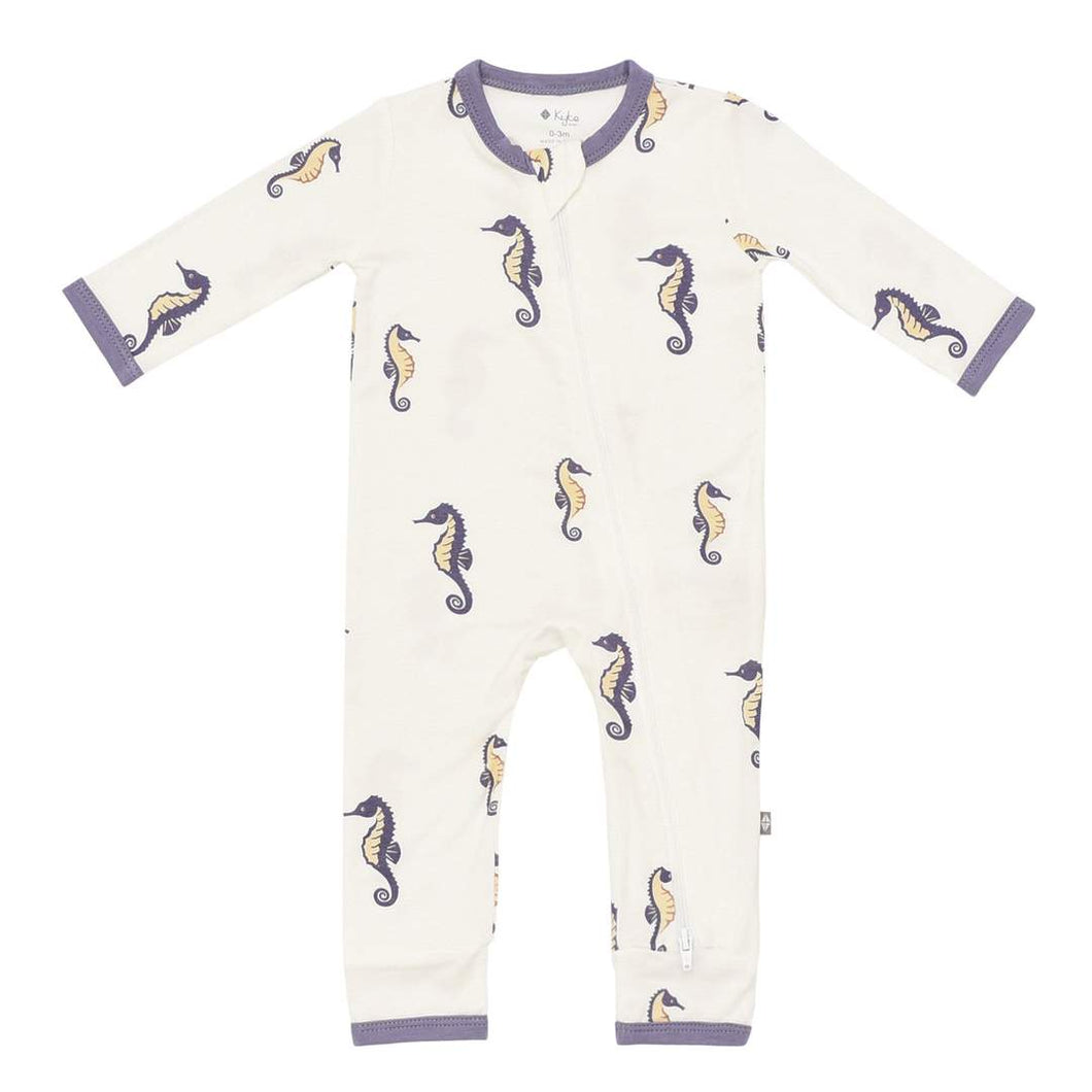 Printed Zippered Romper - Sea Horse