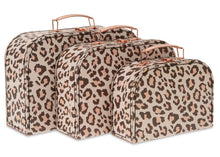 Load image into Gallery viewer, Set of 3 Nesting Storage Suitcases - Leopard