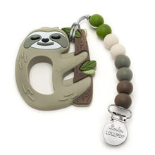 Load image into Gallery viewer, Sloth Silicone Teether with Holder Set