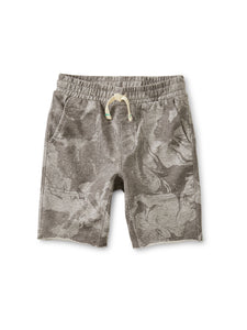 Printed Knit Gym Short-Grecian Marble