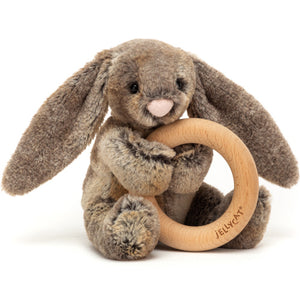 Bashful Woodland Bunny Wooden Ring Toy