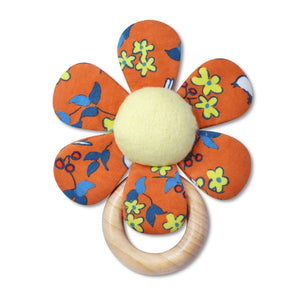 Enchanted Leaves Teething Rattle - Orange