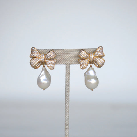 Baroque Pearl Pave Bow Earrings