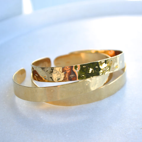 Wide Hammered Cuff - Gold